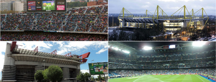 Collage pictures of stadiums in Europe